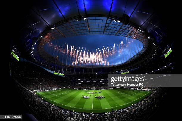 General view inside the stadium as fireworks are seen during the Opening Ceremony of the Tottenham Hotspur Stadium prior to the the Premier League...