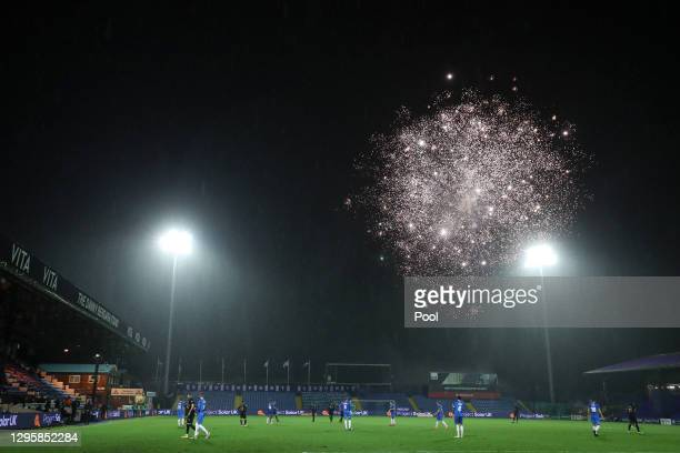 General view inside the stadium as fireworks are seen in the sky during the FA Cup Third Round match between Stockport County and West Ham United at...