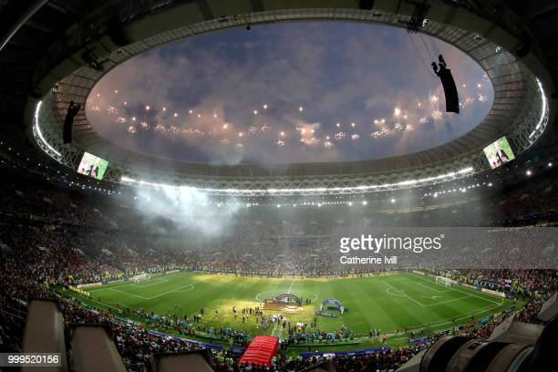 General view inside the stadium as fireworks are set off as France celebrate with the World Cup Trophy following their sides victory in the 2018 FIFA...