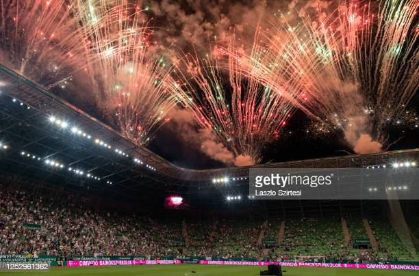 General view inside the stadium as fireworks are set off as Ferencvarosi TC celebrate the 31st championship title after the Hungarian OTP Bank Liga...