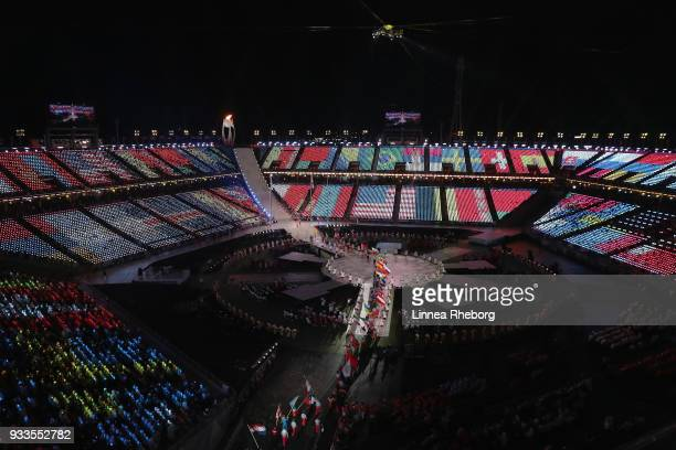 General view inside the stadium as flagbearers walk through during the closing ceremony of the PyeongChang 2018 Paralympic Games at the PyeongChang...