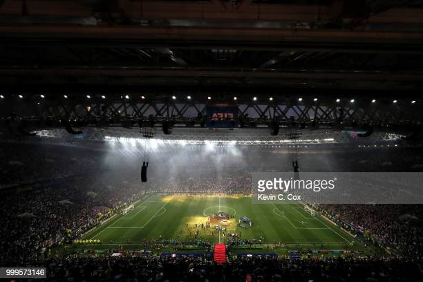 General view inside the stadium as France celebrate following their sides victory in the 2018 FIFA World Cup Final between France and Croatia at...