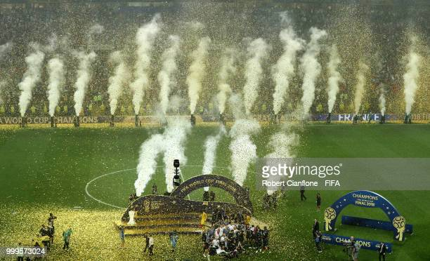 General view inside the stadium as France celebrate with the World Cup trophy following the 2018 FIFA World Cup Final between France and Croatia at...