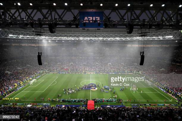 General view inside the stadium as France players receive their World Cup Winner's medals following the 2018 FIFA World Cup Final between France and...