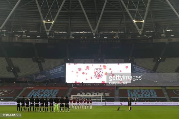 General view inside the stadium as Fulham and West Ham United players observe a minutes silence to mark Armistice Day prior to the Premier League...