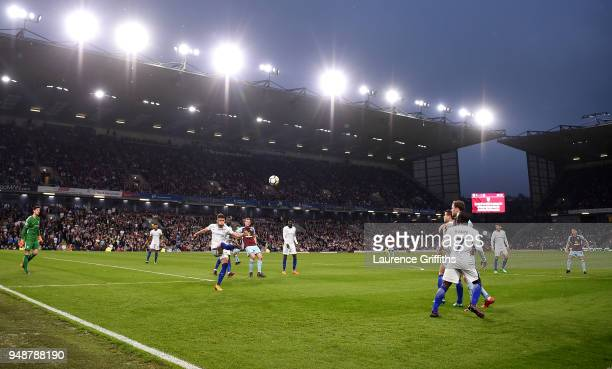 General view inside the stadium as Gary Cahill of Chelsea clears the ball during the Premier League match between Burnley and Chelsea at Turf Moor on...