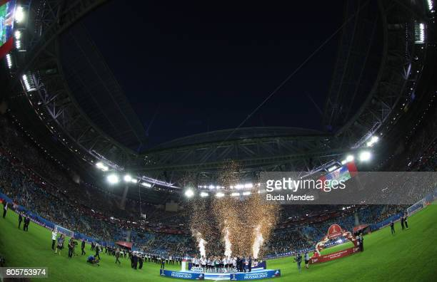 General view inside the stadium as Germany lift the FIFA Confederations Cup trophy after the FIFA Confederations Cup Russia 2017 Final between Chile...