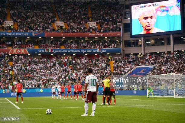 General view inside the stadium as Giovani Dos Santos of Mexico takes a free kick during the 2018 FIFA World Cup Russia group F match between Korea...