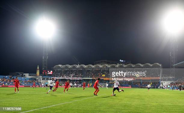 General view inside the stadium as Harry Kane of England crosses the ball during the 2020 UEFA European Championships Group A qualifying match...