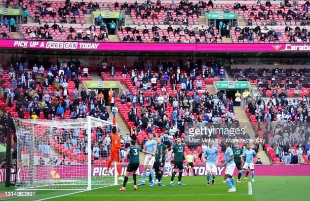 General view inside the stadium as Hugo Lloris of Tottenham Hotspur tips the shot of Riyad Mahrez of Manchester City over the bar during the Carabao...