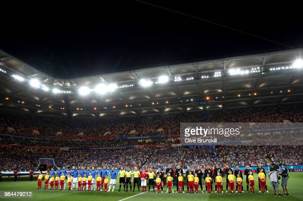 General view inside the stadium as Iceland and Croatia players line up prior to the 2018 FIFA World Cup Russia group D match between Iceland and...