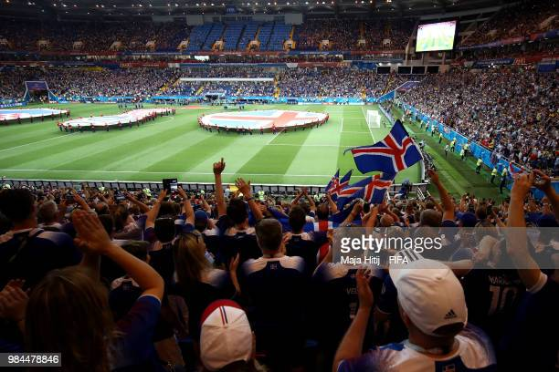 General view inside the stadium as Iceland fans show their support during the 2018 FIFA World Cup Russia group D match between Iceland and Croatia at...