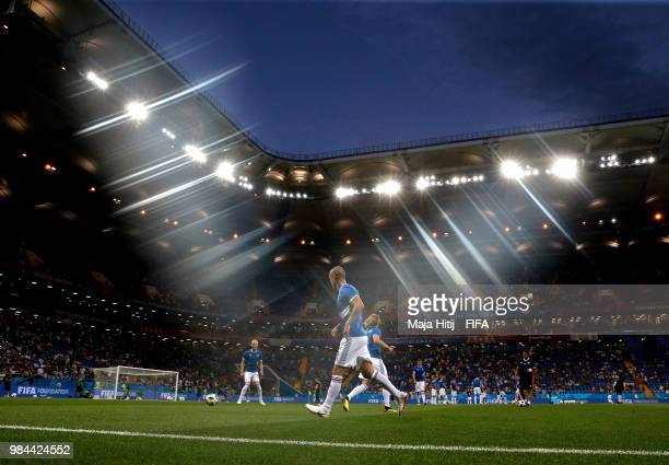 General view inside the stadium as Iceland warm up prior to the 2018 FIFA World Cup Russia group D match between Iceland and Croatia at Rostov Arena...