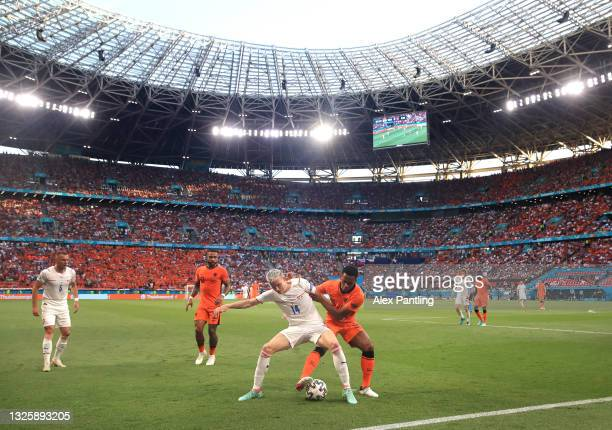 General view inside the stadium as Jakub Jankto of Czech Republic battles for possession with Jurrien Timber of Netherlands during the UEFA Euro 2020...
