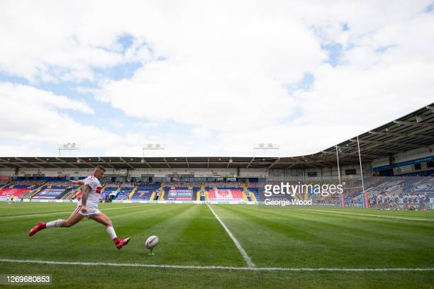General view inside the stadium as Jamie Ellis of Hull Kingston Rovers kicks the ball during the Betfred Super League match between Hull Kingston...