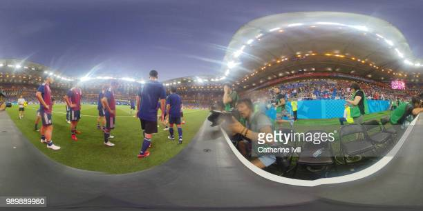 General view inside the stadium as Japan warms up prior to the 2018 FIFA World Cup Russia Round of 16 match between Belgium and Japan at Rostov Arena...