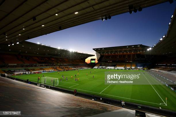 General view inside the stadium as Jonny Otto of Wolverhampton Wanderers scores his team's second goal during the Premier League match between...
