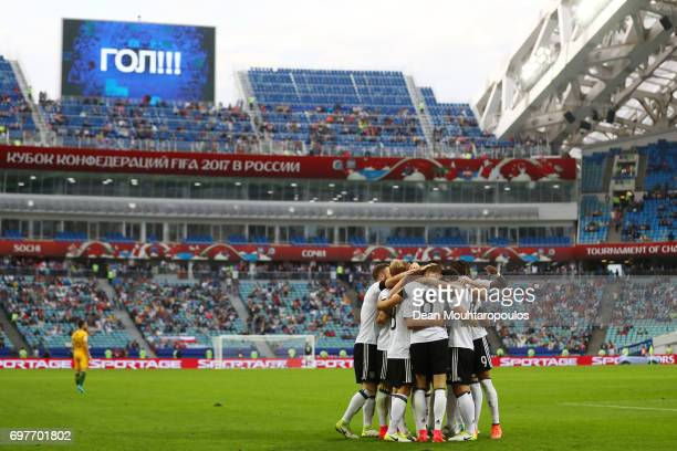 General view inside the stadium as Julian Draxler of Germany celebrates scoring his sides third goal with his Germany team mates during the FIFA...