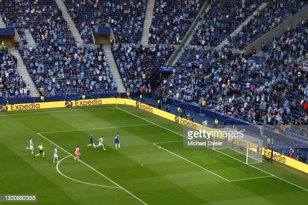 General view inside the stadium as Kai Havertz of Chelsea scores their side's first goal during the UEFA Champions League Final between Manchester...