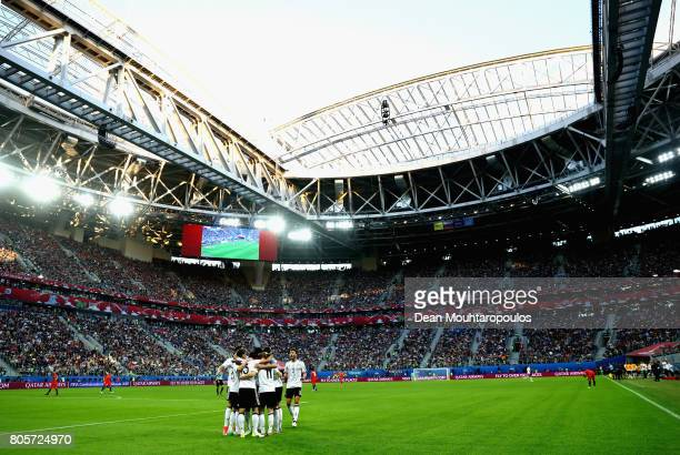 General view inside the stadium as Lars Stindl of Germany celebrates scoring his sides first goal with his German team mates during the FIFA...
