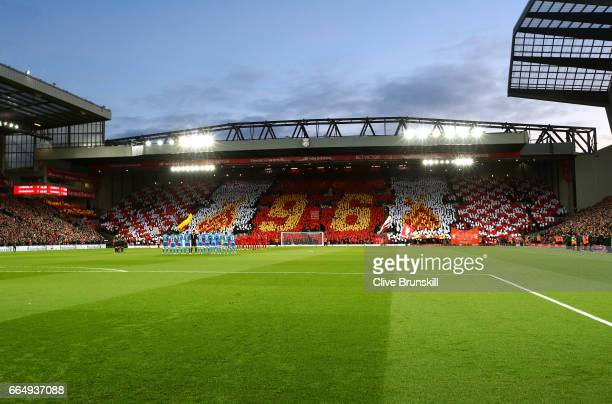 General view inside the stadium as Liverpool fans remeber the victims of the hillsborough disaster the Premier League match between Liverpool and AFC...