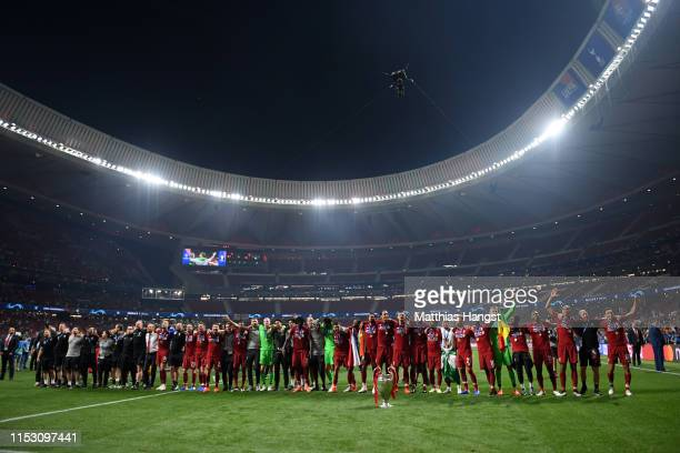 General view inside the stadium as Liverpool players celebrate with the trophy after winning the UEFA Champions League Final between Tottenham...