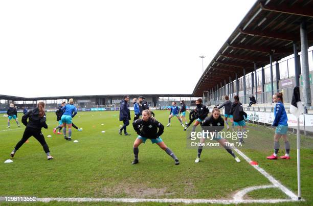 General view inside the stadium as London City Lionesses warm up prior to the Barclays FA Women's Championship match between London City Lionesses...