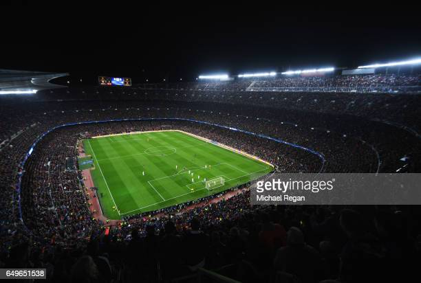General view inside the stadium as Luis Suarez of Barcelona scores their first goal during the UEFA Champions League Round of 16 second leg match...
