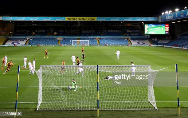 General view inside the stadium as Mallik Wilks of Hull City scores his team's first goal during the Carabao Cup Second Round match between Leeds...