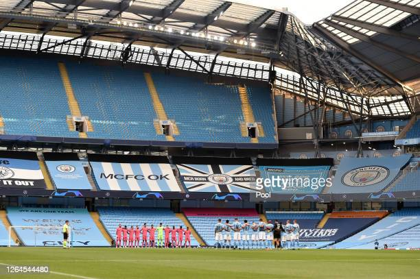 General view inside the stadium as Manchester City and Real Madrid players observe a minutes silence in respect for those who have lost their lives...