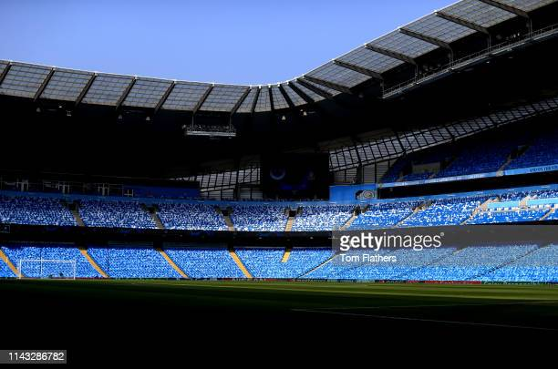 General view inside the stadium as Manchester City flags await fans inside the stadium ahead of the UEFA Champions League Quarter Final second leg...