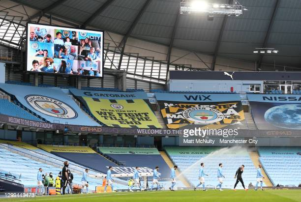 General view inside the stadium as Manchester City players walk out prior to the Premier League match between Manchester City and Sheffield United at...