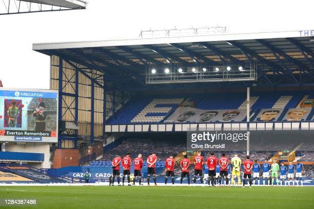 General view inside the stadium as Manchester United and Everton players observe a minutes silence to mark Armistice Day prior to the Premier League...