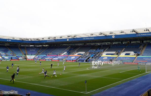 General view inside the stadium as Marc Albrighton of Leicester City crosses the ball during the Premier League match between Leicester City and...