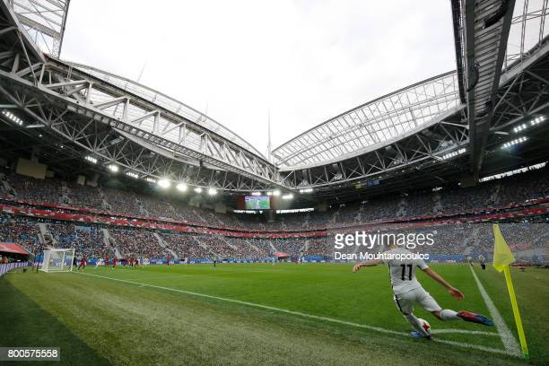 General view inside the stadium as Marco Rojas of New Zealand takes a corner during the FIFA Confederations Cup Russia 2017 Group A match between New...