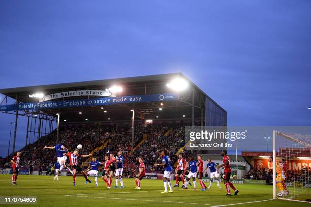 General view inside the stadium as Michael Keane of Everton shoots a header during the Carabao Cup Second Round match between Lincoln City and...
