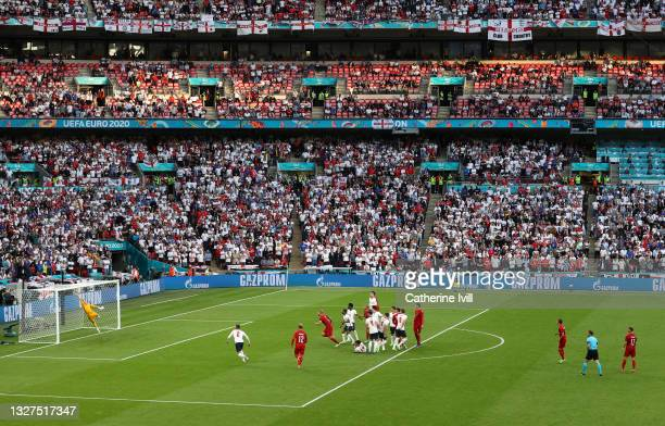 General view inside the stadium as Mikkel Damsgaard of Denmark scores their team's first goal from a free kick past Jordan Pickford of England during...