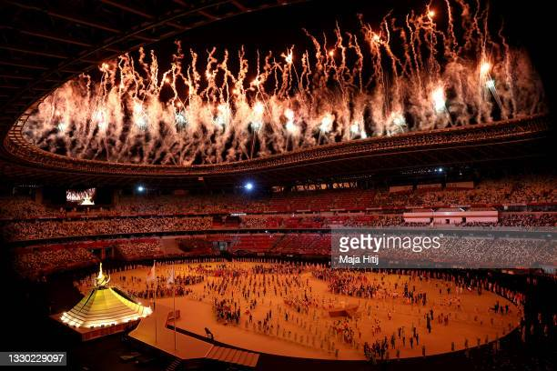General view inside the stadium as Naomi Osaka of Team Japan lights the Olympic cauldron with the Olympic torch during the Opening Ceremony of the...