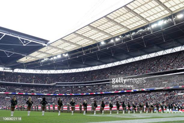 A general view inside the stadium as national anthems are sung ahead of the NFL International Series match between Philadelphia Eagles and...