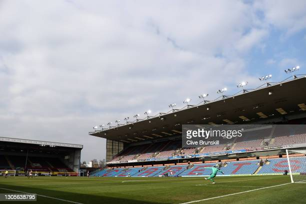 General view inside the stadium as Nick Pope of Burnley takes a goal kick during the Premier League match between Burnley and Arsenal at Turf Moor on...