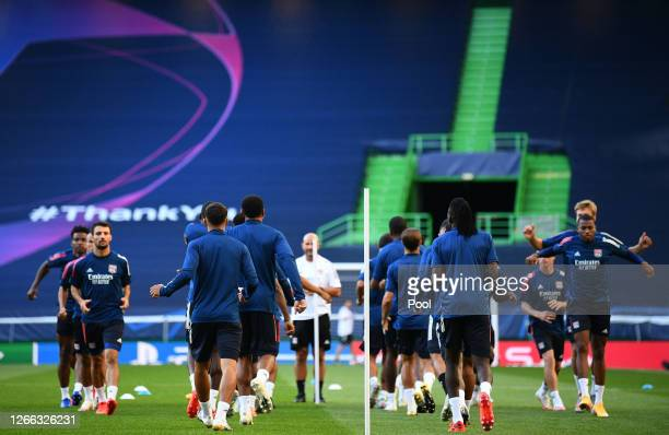 General view inside the stadium as Olympique Lyon players take part during the Olympique Lyonnais Training Session ahead of the UEFA Champions League...