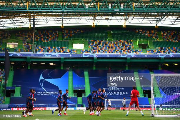 General view inside the stadium as Olympique Lyon take part in the Olympique Lyonnais Training Session ahead of the UEFA Champions League match...