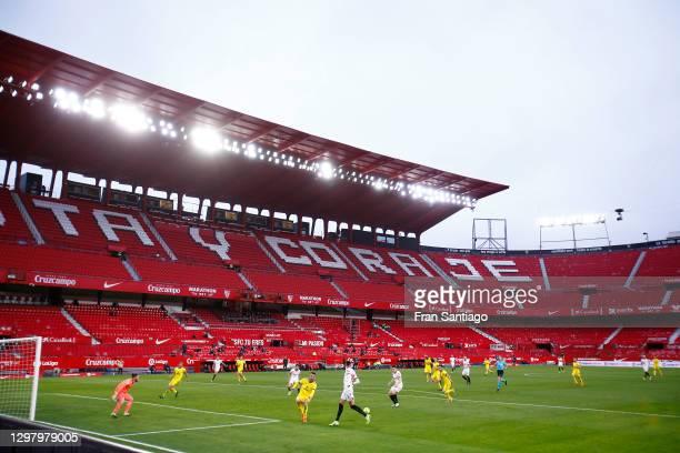 General view inside the stadium as Oussama Idrissi of Sevilla shoots during the La Liga Santander match between Sevilla FC and Cadiz CF at Estadio...