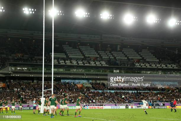 General view inside the stadium as Owen Farrell of England converts his team's second penalty during the Rugby World Cup 2019 Final between England...