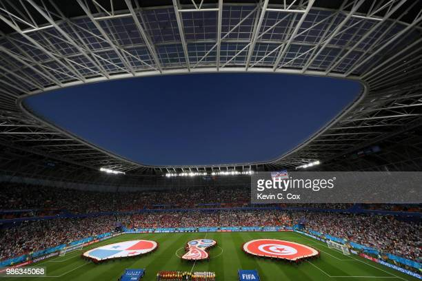 General view inside the stadium as Panama and Tunisia line up prior to the 2018 FIFA World Cup Russia group G match between Panama and Tunisia at...