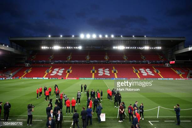 A general view inside the stadium as Paris SaintGermain walks the pitch on the eve of their UEFA Champions League Match against Liverpool at Anfield...