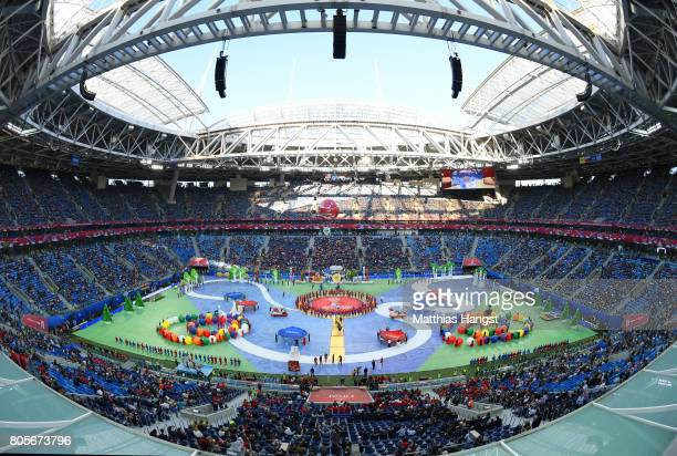 General view inside the stadium as performers perform during the closing ceremony prior to the FIFA Confederations Cup Russia 2017 Final between...
