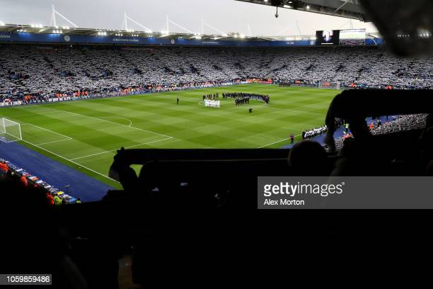 General view inside the stadium as period of silence is observed ahead of Armistice day, and in memory of Leicester City chairman Vichai...