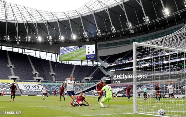 General view inside the stadium as Pierre-Emile Hojbjerg of Tottenham Hotspur scores their side's second goal past Rui Patricio of Wolverhampton...