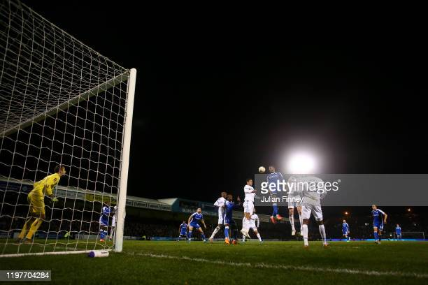 General view inside the stadium as players compete for a header during the FA Cup Third Round match between Gillingham FC and West Ham United at MEMS...